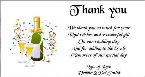 Thank You Gift Cards Wedding Personalised -  Champagne Bottle and Glasses design x 10 (1) (2)